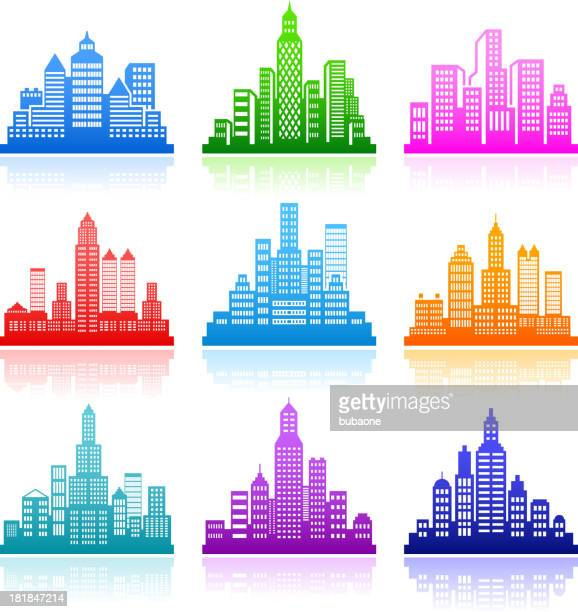 city emblem color royalty free vector icon set - chrysler building stock illustrations, clip art, cartoons, & icons