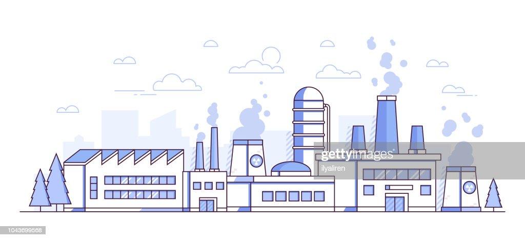 City factory - modern thin line design style vector illustration