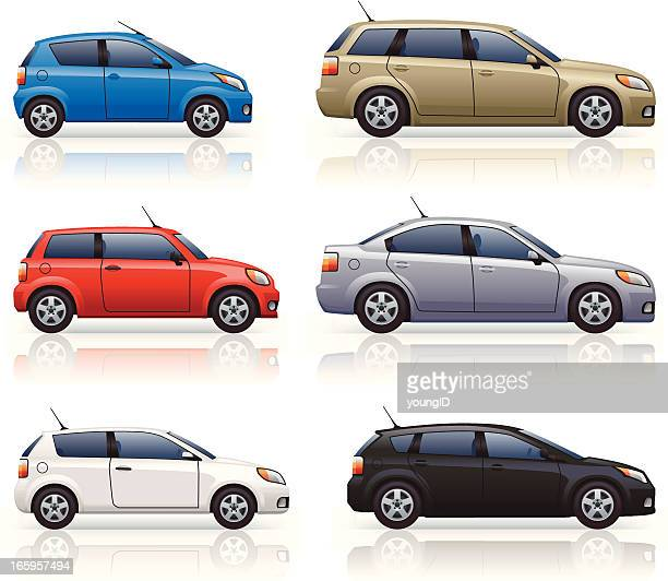 city & family cars - side view stock illustrations