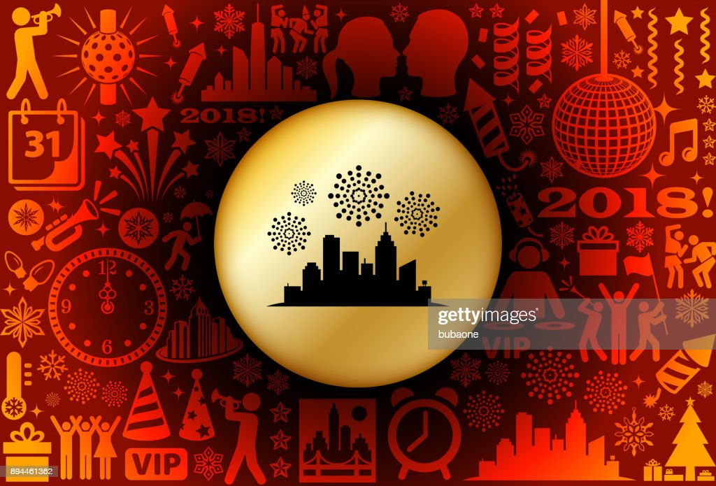 city fireworks new year holiday background pattern vector art