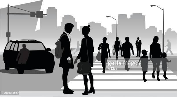 city folk - road intersection stock illustrations