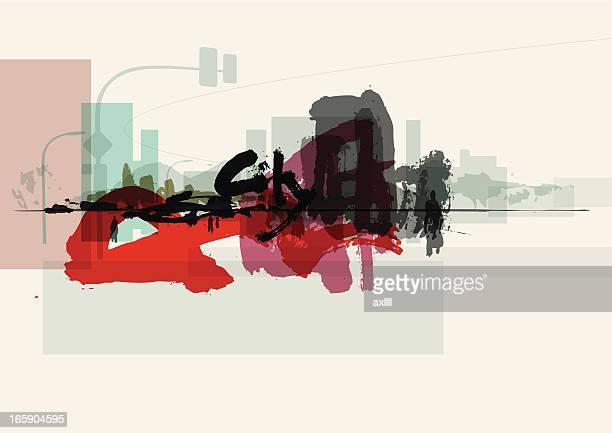 ilustrações, clipart, desenhos animados e ícones de fundo de graffiti da cidade - funky