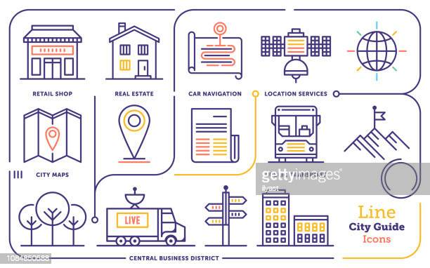 city guide activity line icon set - public transportation stock illustrations