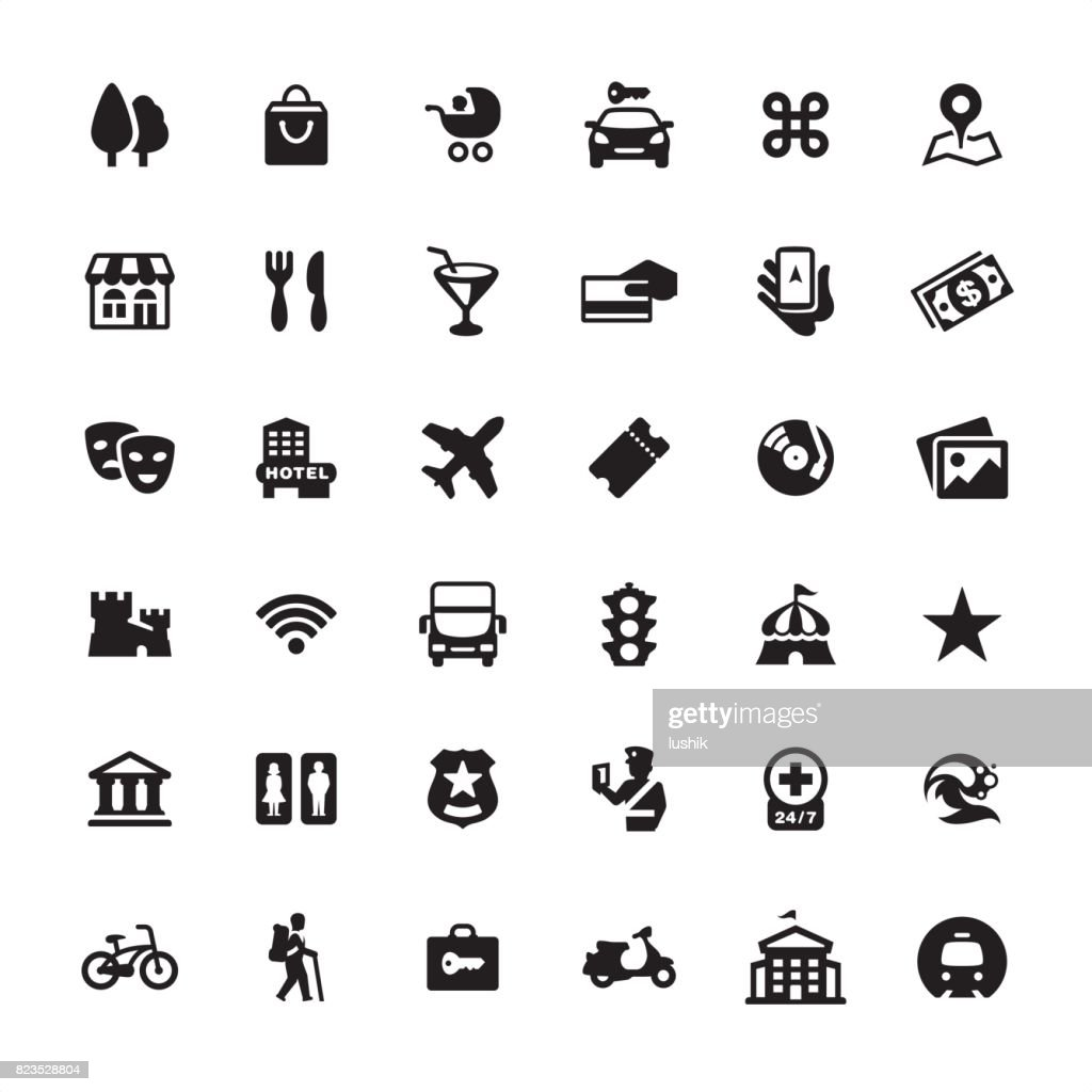 City Guide and Navigation - icon set : stock illustration