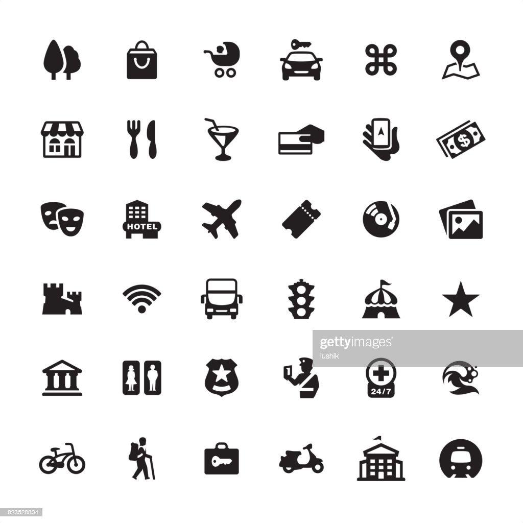 Guía de la ciudad y navegación - conjunto de iconos : Ilustración de stock