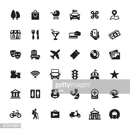 Stadtführer Und Navigations Iconset Stock-Illustration