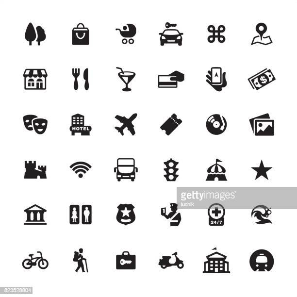 city guide and navigation - icon set - arts culture and entertainment stock illustrations