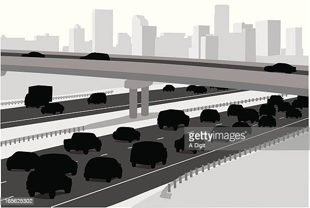 city highway - overpass road stock illustrations