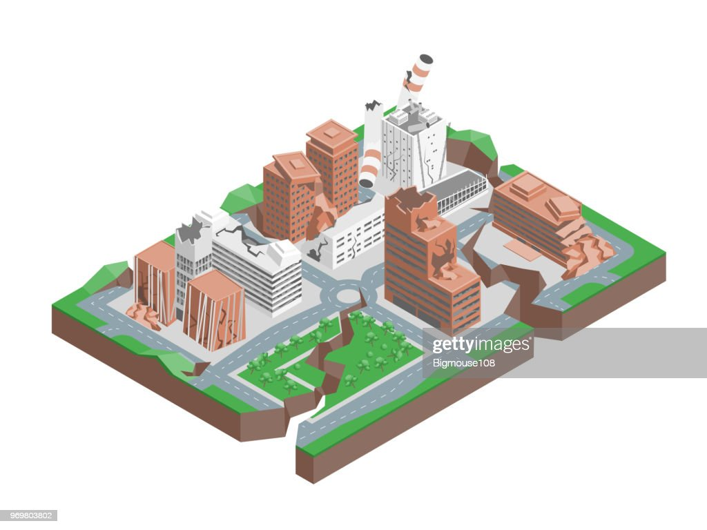 City Hit Earthquake Concept 3d Isometric View. Vector