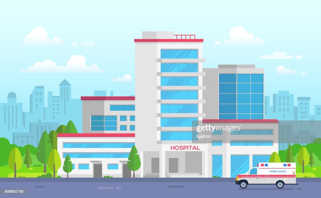 City hospital with ambulance - modern vector illustration