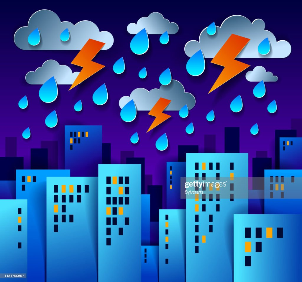 City houses buildings under thunderstorm and lightning in the night paper cut cartoon kids game style vector illustration, modern minimal design of cute cityscape, urban life, cloudy rainy sky.