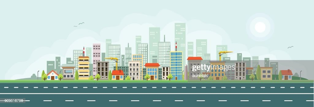 City Houses Vector Banner