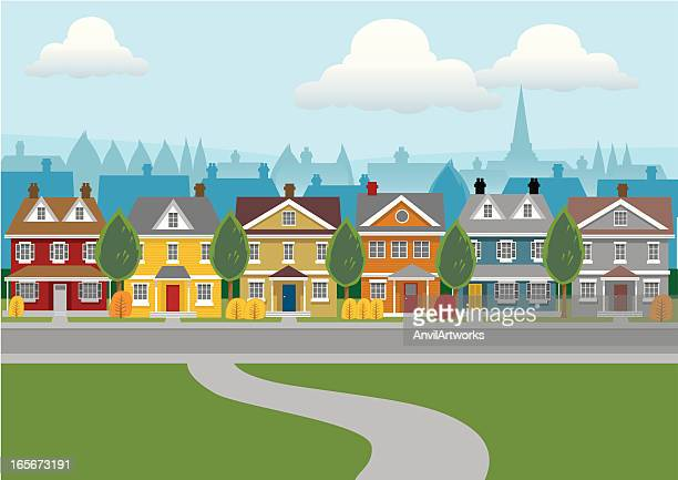city houses - district stock illustrations