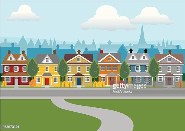 illustrazioni stock, clip art, cartoni animati e icone di tendenza di case di città - quartiere residenziale