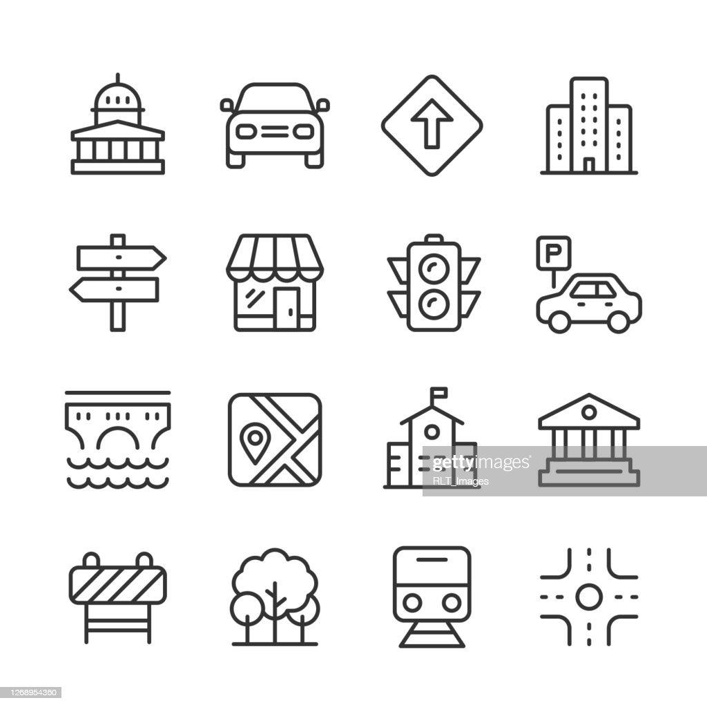 City Icons — Monoline-Serie : Stock-Illustration