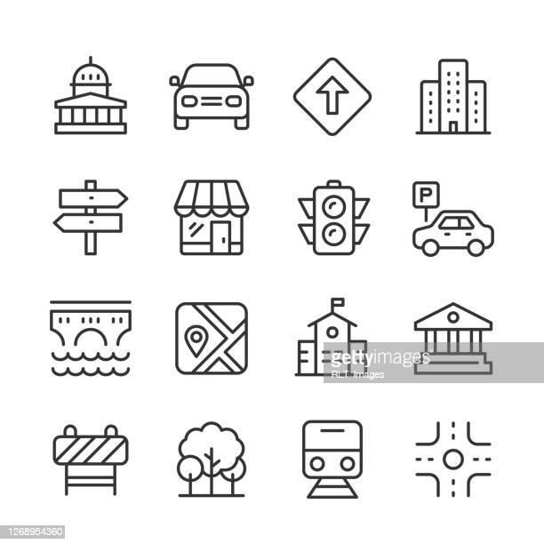 city icons — monoline-serie - rathaus stock-grafiken, -clipart, -cartoons und -symbole
