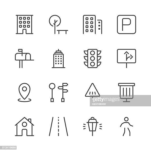 city icons set 1 | black line series - stoplight stock illustrations, clip art, cartoons, & icons