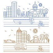 City illustration birds, buildings, cathedrals