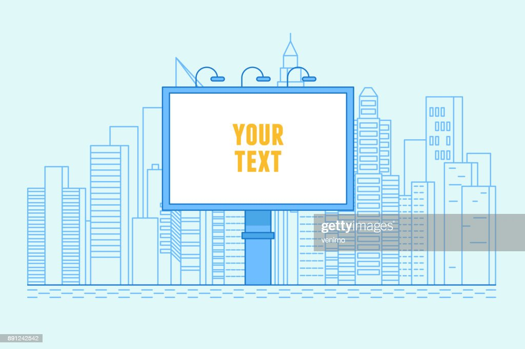 City illustration with buildings and billboard with copy space for text