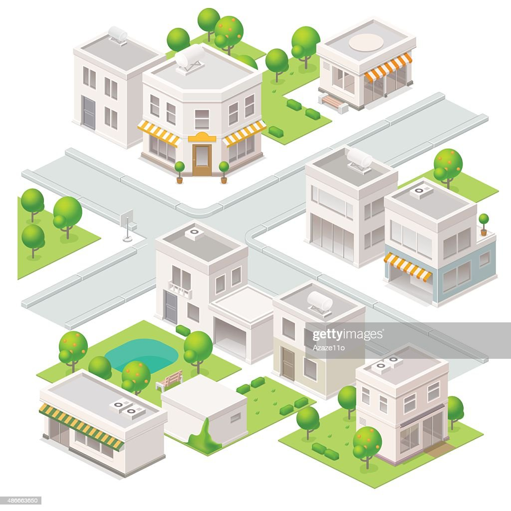 City isometric buildings.