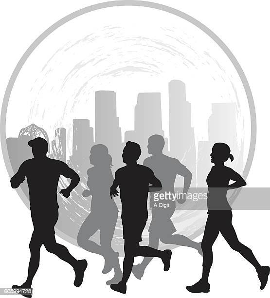 City Joggers Icon Vector Silhouette