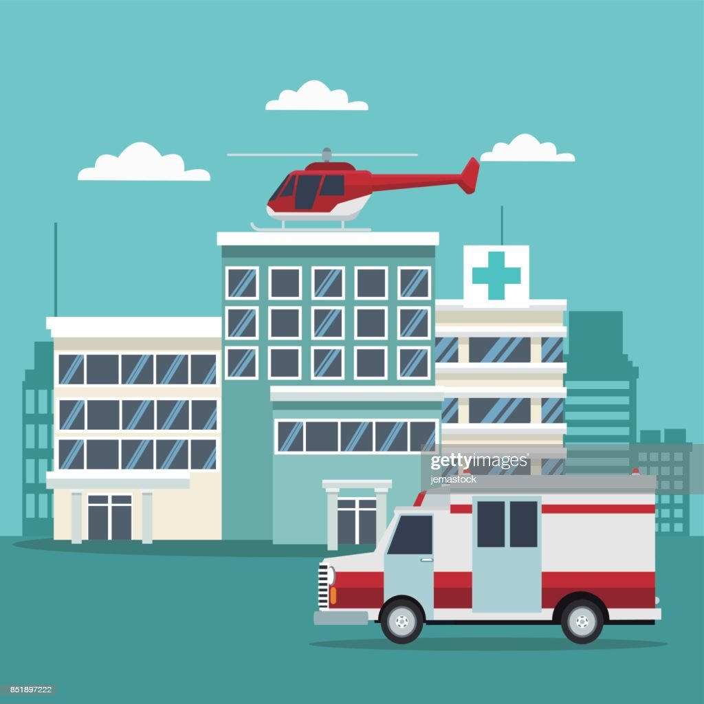 city landscape color background with building hospitals with ambulance and helicopter flying overhead