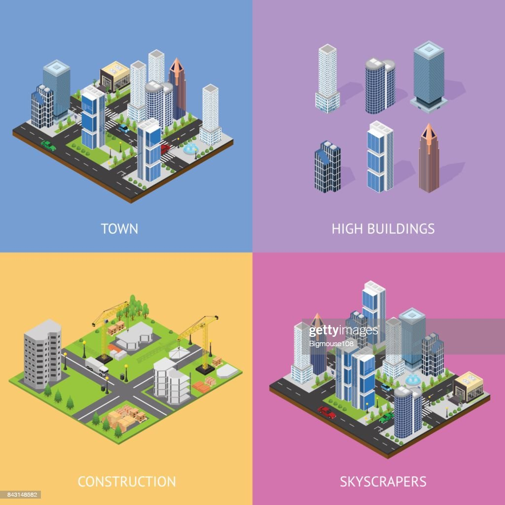 City Landscape Construction Building Poster Card Set Isometric View. Vector