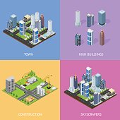 City Landscape Construction Building Poster Card Set Isometric View. Vector