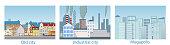 City landscape, metropolis, old town, industrial area. Vector illustration of the urban landscape.