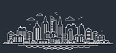 City landscape template. Thin line night City landscape. Downtown landscape with high skyscrapers on dark. Panorama architecture Goverment buildings outline illustration. Skyline