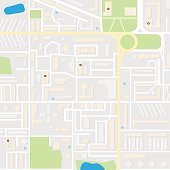 City layout map. Colored city map for navigator, program, mobile app
