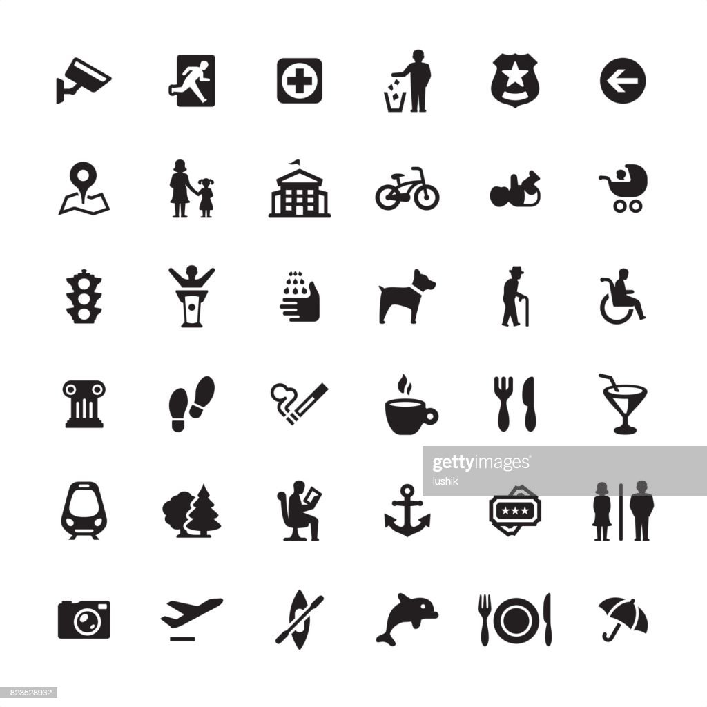 City life and Public Space - icons set : stock illustration