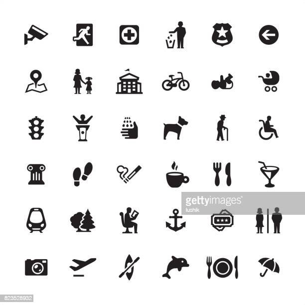 city life and public space - icons set - information symbol stock illustrations, clip art, cartoons, & icons