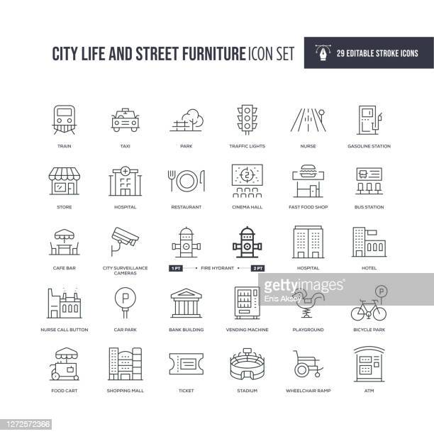 city life and street furniture editable stroke line icons - cafe stock illustrations