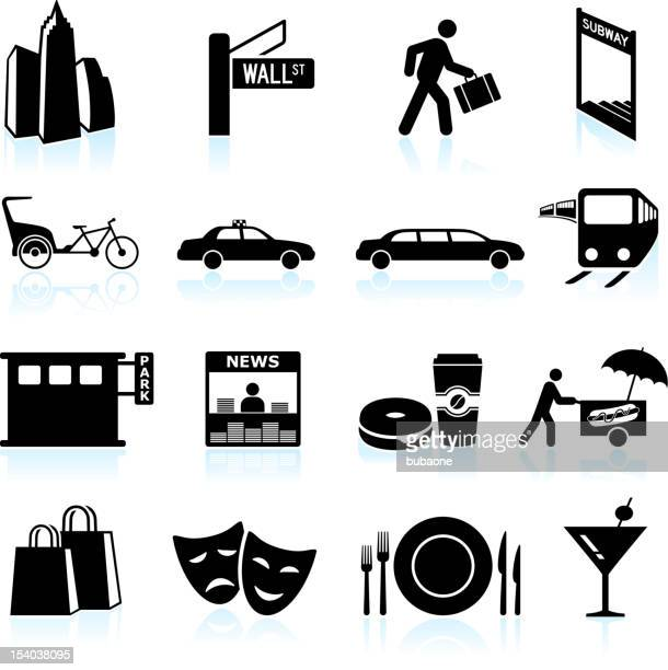 City Life black & white royalty free vector icon set