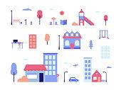 City life - flat design style set of isolated elements