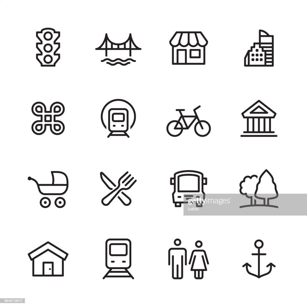 Stadtleben - Gliederung-Icon-set : Stock-Illustration