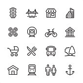 City life - outline icon set