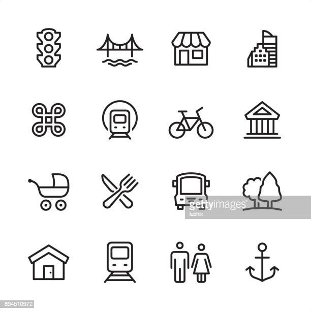 city life - outline icon set - bicycle stock illustrations