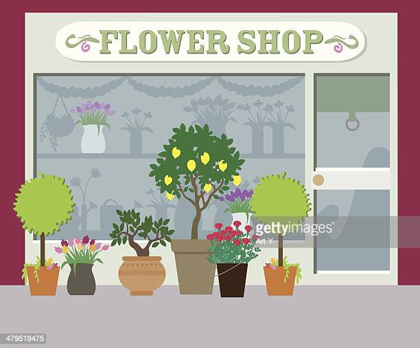 ilustrações de stock, clip art, desenhos animados e ícones de vida urbana série-loja de flores - planta de vaso