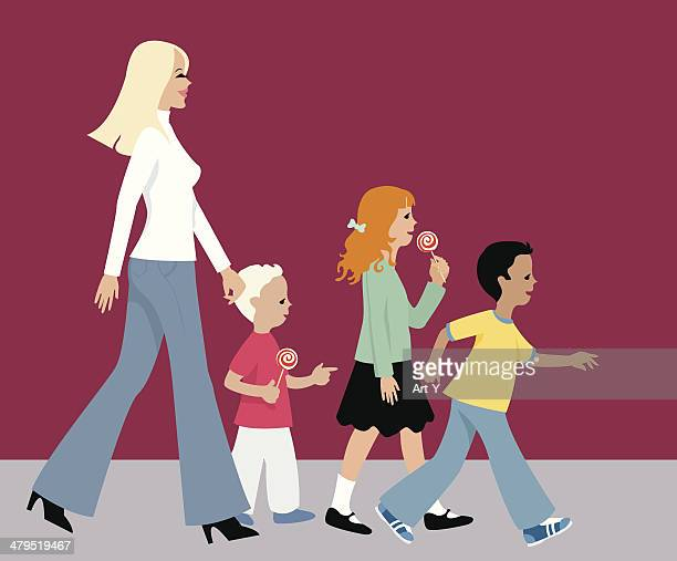 city life series - woman and kids - nanny stock illustrations
