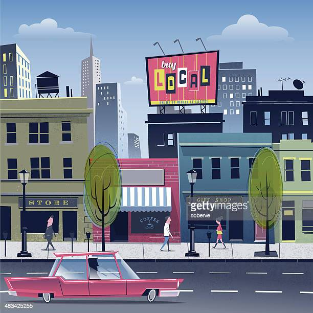 stockillustraties, clipart, cartoons en iconen met city life - stadsstraat