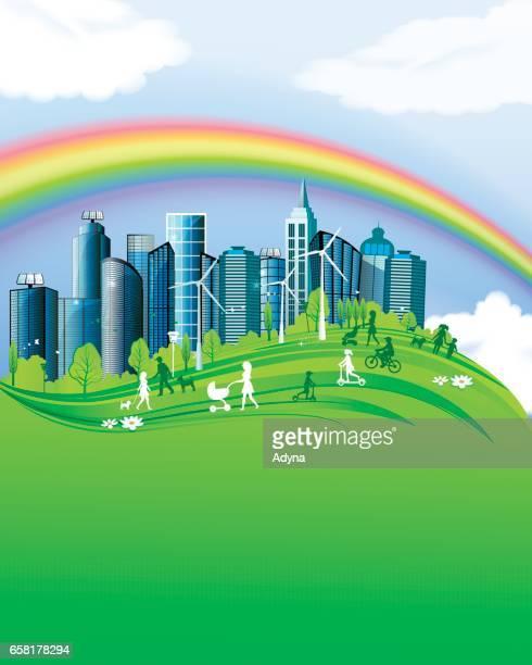 ilustrações de stock, clip art, desenhos animados e ícones de city life - family cycling