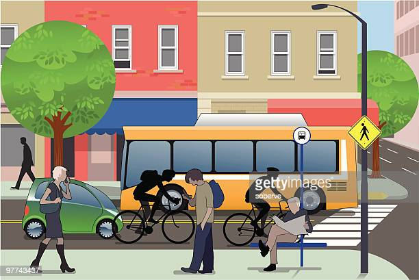 city life - pedestrian stock illustrations, clip art, cartoons, & icons