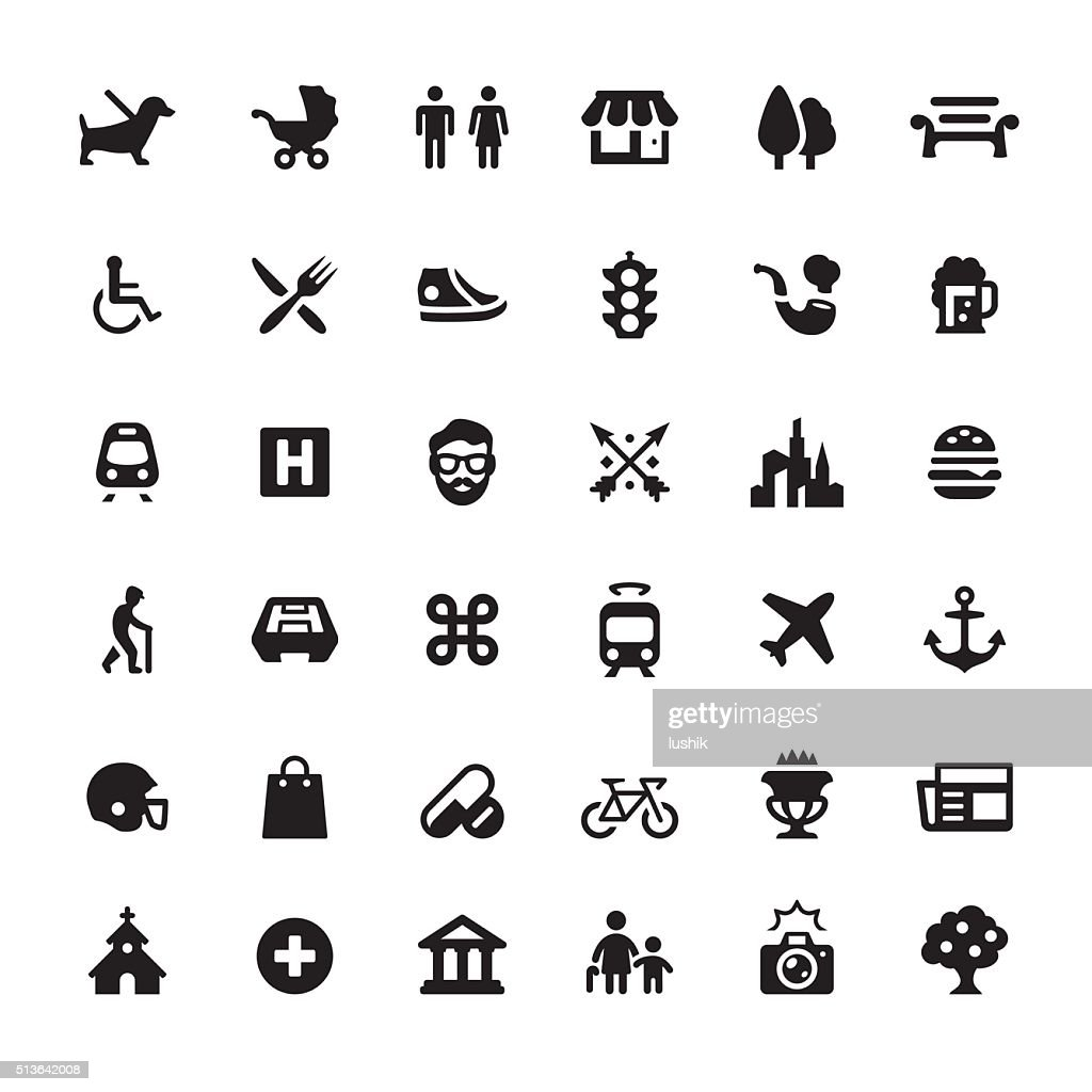 City Life vector symbols and icons