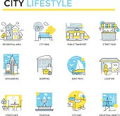 City lifestyle concept icons.