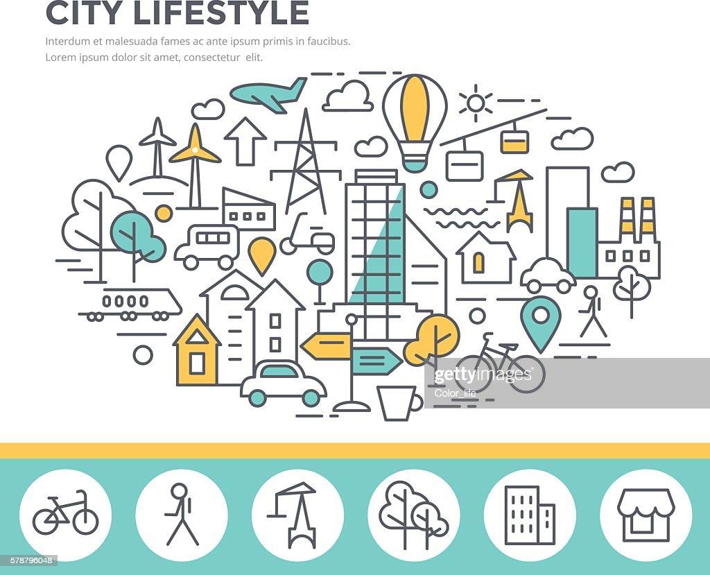 City lifestyle concept illustration