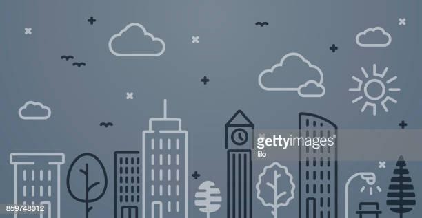stockillustraties, clipart, cartoons en iconen met stad lijntekening achtergrond - bar gebouw