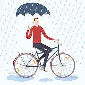 City man cyclist under the rain vector illustration