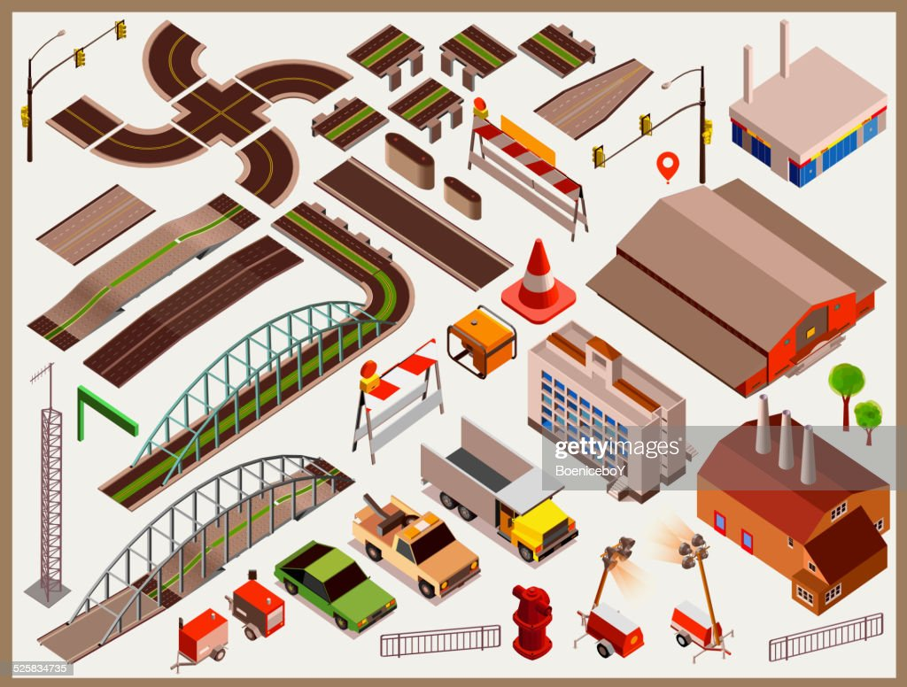 City Map Kit isometric vector. make your custom Township